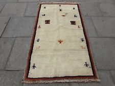 Traditional Tribal Hand Made Persian Gabbeh Oriental Cream Wool Rug 180x104cm