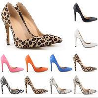 Womens snakeskin leopard zebra print stilettos pointed toe slip on pumps shoes