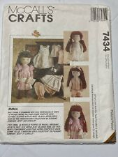 "McCall's Crafts Pattern 7434 Emma 18"" Doll Iron On Face Transfer Included"