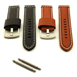 Double Stitched Genuine Leather Watch Strap Band 18 20 22 24 Valentin MM