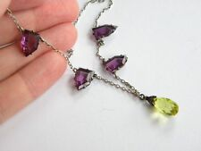 beautiful vintage crystal glass necklace ~ unmarked silver