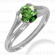 1.05ct VS1 Green Diamond Engagement Solitaire Bridal Ring 14k White Gold Split