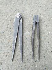 Antico compasso falegname ferro battuto raro lotto 2 pezzi originale collezione
