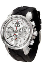 Jorg Gray JG5600-24 Mens Watch Chronograph Silver Dial Integrated Black Silicone