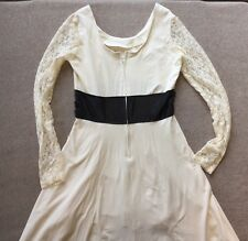 Royal Bones Cream Blk Faux-Leather Lace Slv Hi-Lo SALEM Dress Sz L Gothic AS IS