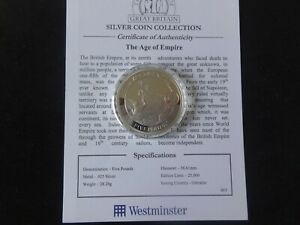 2008 SILVER PROOF GIBRALTAR £5 COIN + COA THE AGE OF EMPIRE HISTORY BRITAIN