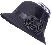 Edler Retro VINTAGE Satin Rosen Roses FEDER Hut - Schwarz Rockabilly