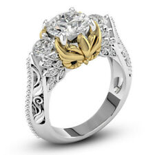 Women Fashion Jewelry 925 Silver Filled White Sapphire Gold Owl Ring Wedding