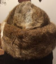 Vintage Rabbit Womens Hat with Lining Browns and Tans