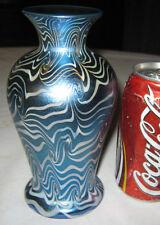 ANTIQUE DURAND BLUE SWIRL KING TUT ART DECO FLOWER GARDEN GLASS URN PLANT VASE