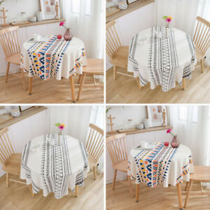 Modern Boho Cotton Linen Washable Tablecloths Round Tabletop Decoration Home