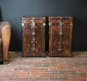 English Handmade Bridle Leather Occasional Side Table Trunks