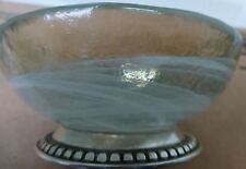 Compote-Marinoni Milky Swirl Glass with Pewter Base