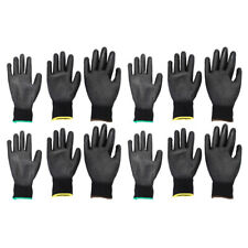 6 Pairs Nylon PU Coated Safety Work Gloves for Garden Builders, S + M + L