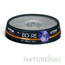 10 Genuine TDK BD-RE Bluray Réinscriptible BDR 2x Vierge Disques 25 Go 135 M Taiwan