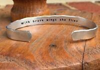 With brave wings she flies - Inside Secret Message Hand Stamped Cuff Stacking