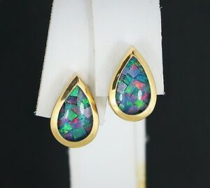 $1,150 14K Yellow Gold Pear Shape Fire Opal Teardrop Water Drop Stud Earrings