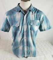 Levis Mens Button Down Shirt Size XL Standard Fit Pearl Snaps Blue Striped