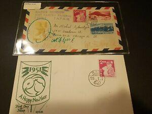 Japan Stamps on Envelopes (1951)