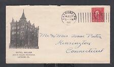 USA 1912 HOTEL MILLER COVER LATROBE PENNSYLVANIA TO KENSINGTON CONNECTICUT