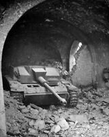 WWII photo German StuG 40 in the lobby of the Allied-destroyed Hotel Contine 29i