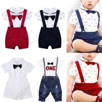 Baby Boys Wedding Formal Suit Short Sleeve Bowtie Gentleman Romper Tuxedo Outfit
