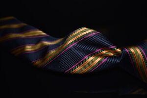 Ike Behar Hand Sewn in USA Navy Satin Gold Purple Multi Stripe Thick Silk Tie