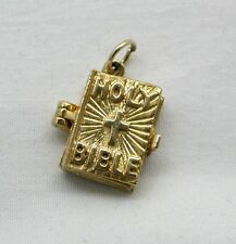 Vintage 9ct Gold Holy Bible Charm With Lords Prayer And A Psalm Inside