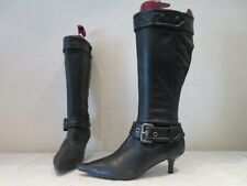 FAITH BLACK LEATHER LONG KITTEN HEEL ZIP UP BUCKLE BOOTS UK 6 (3542)
