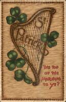 TUCK St. Patrick's Day Harp & Clovers c1910 Postcard