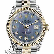26mm Rolex Datejust 2 Tone Tahitian Pearl Diamond Dial & Lugs with Fluted Bezel