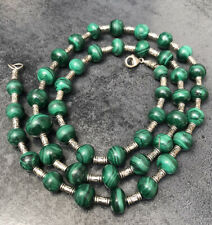 Vintage 925 Sterling Silver With Green Malachite Beads Long Necklace