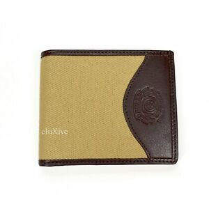 NWT $195 Ghurka Men's Brown Leather Khaki Canvas Classic Bifold Wallet AUTHENTIC