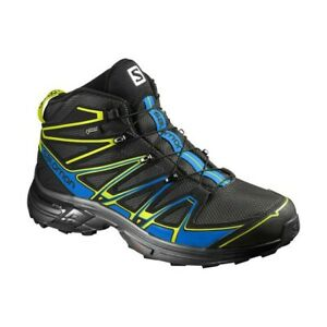 Original Salomon Men's Shoes X Chase Mid GTX - Black Blue Gecko Green 391832