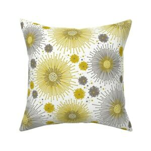 Garden Autumn Floral Mustard Throw Pillow Cover w Optional Insert by Roostery