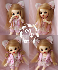"4""-5""12cm BJD Fabric Fur wig Flaxen Color for AE PukiFee Lati 1/12 Doll Antiskid"