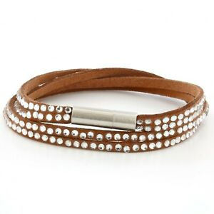 Womens Brown Leather Beaded Bracelet, Girls Layer Stack Studded Wristband