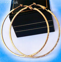 NEW PAIR OF BIG GOLD PLATED HOOP EARRINGS LARGE CIRCLE HOOPS HOT LADIES GIFT UK