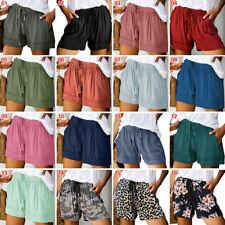 Mujeres Moda Pantalones Cortos Verano Poliéster Cintura Alta Informales Talla M-5XL Solid