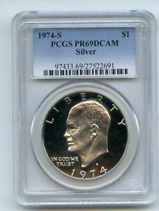 1974 S $1 Silver Ike Eisenhower Dollar Proof PCGS PR69DCAM