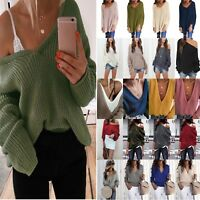 Women Long Sleeve V-Neck Baggy Sweater Pullover Jumper Autumn Clothing Plus Size