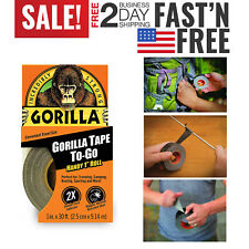 Black Gorilla Tape Handy Roll Rugged Waterproof Traveling Camping 1in x 30ft 1Pc