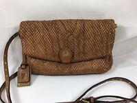 Frye Convertible Crossbody Clutch Studded Strap Bag Leather Brown Reg $228