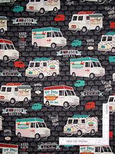 Food Truck Hot Dogs Lunch Black Cotton Fabric Robert Kaufman Food Trucks - Yard