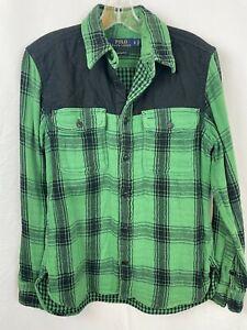 POLO Ralph Lauren Vintage Construction Plaid Heavy Flannel Shirt Men's S