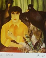 HILDEGARD AUER WOMAN W.BIRDS HAND SIGNED NUMBERED1984 LITHOGRAPH American Artist