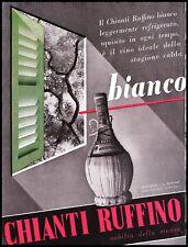 PUBBLICITA' 1939  VINO CHIANTI RUFFINO BIANCO FIASCO PONTASSIEVE WINE BAR ARREDO