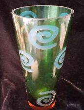 VINTAGE LARGE Handblown Green Glass Vase With ETCHED  TURQUOISE  Swirl Design