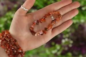 Carnelian Tumbled Stone Crystal Chip Bracelet