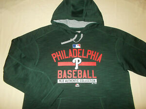 MAJESTIC MLB PHILADELPHIA PHILLIES DARK GREEN HOODED SWEATSHIRT MENS XL EXCELL.